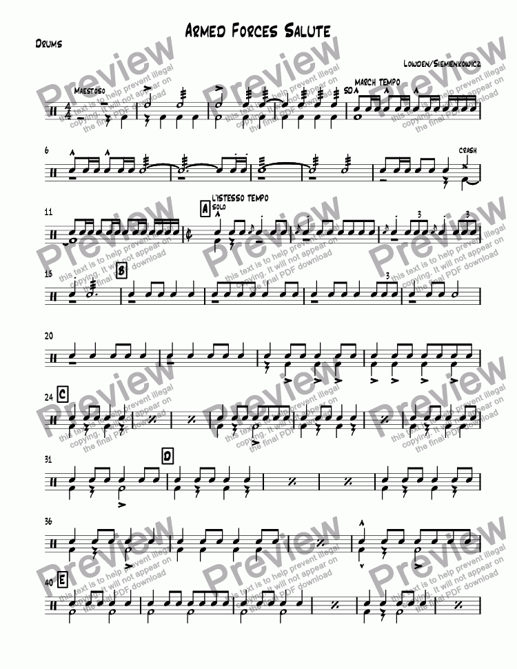 page one of the Drums part from Armed Forces Salute