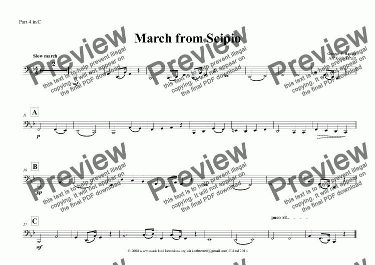 page one of the Part 4 in C part from March from Scipio in Bb for Flexible Band (School Band Series)