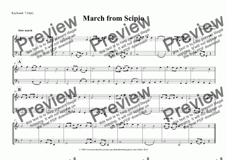 page one of the Keyboard  7 (Opt). part from March from Scipio for Wind Quartet & optional KB & Percussion