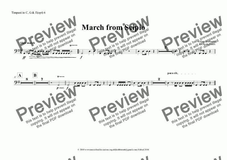 page one of the Timpani in C, G & E(opt) 6 part from March from Scipio for Oboe Quintet with optional Keyboards & Percussion