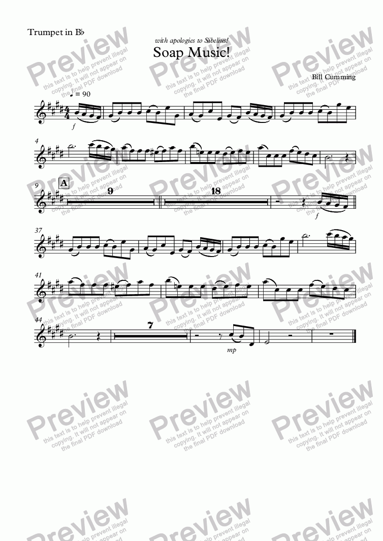 page one of the Trumpet in B^b part from Soap Music!