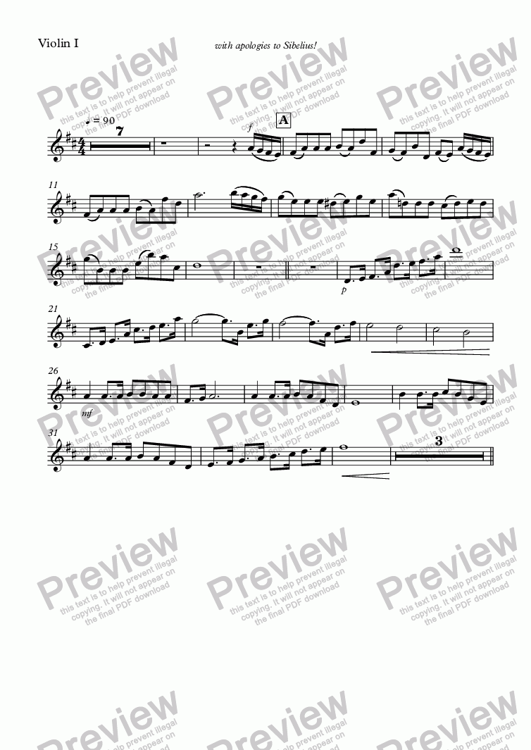page one of the Violin I part from Soap Music!