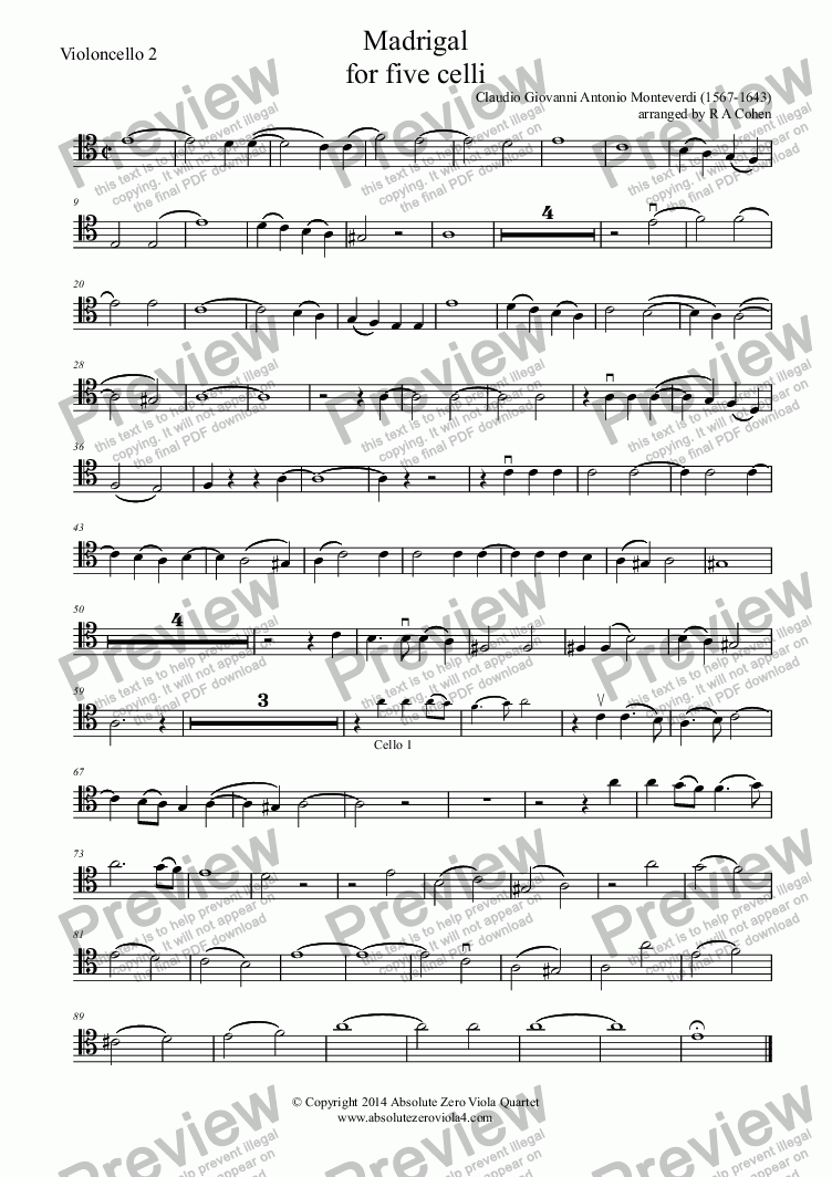 page one of the Violoncello 2 part from Monteverdi - MADRIGAL - for five celli