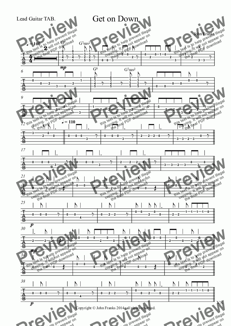 page one of the Lead Guitar TAB. part from Get on Down