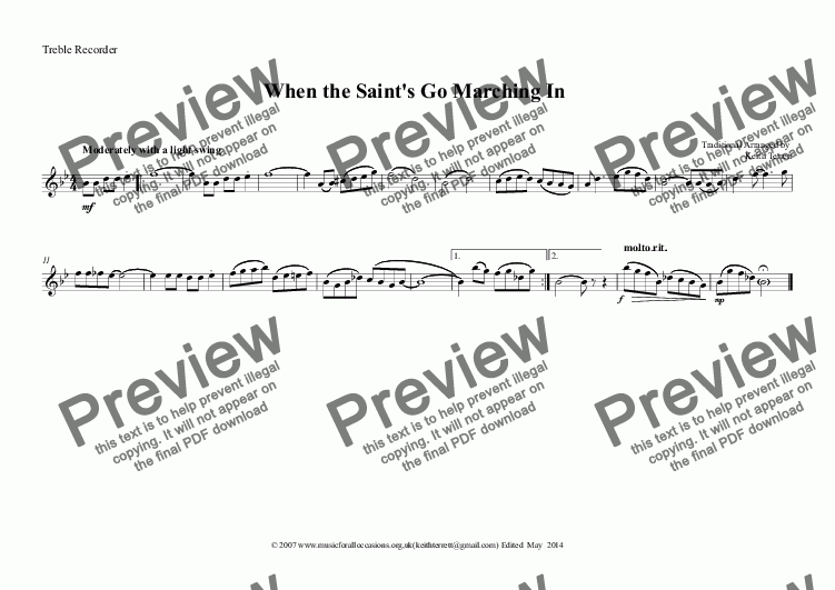 page one of the Treble Recorder part from Jazz it up:When the Saint's Go Marching In for Treble Recorder & Piano