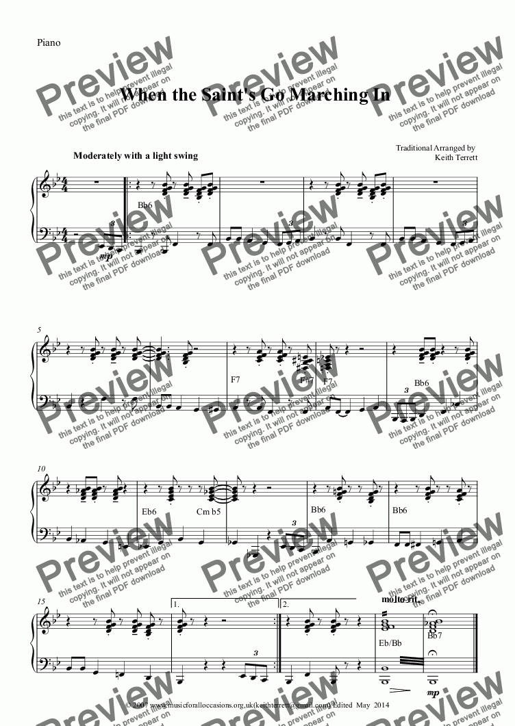 page one of the Piano part from Jazz it up:When the Saint's Go Marching In for Bass Recorder & Piano
