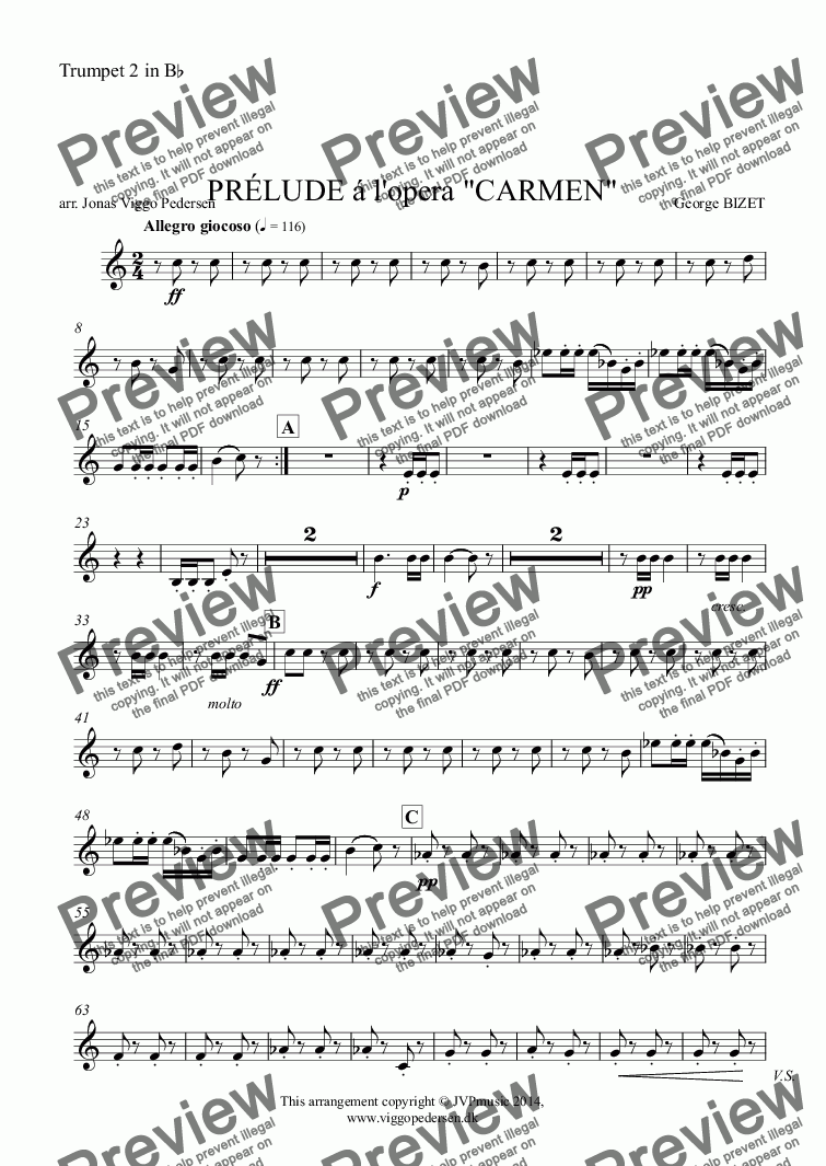 "page one of the Trumpet 2 in B^b part from PRÉLUDE á l'opera ""CARMEN"""