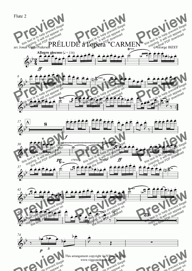 "page one of the Flute 2 part from PRÉLUDE á l'opera ""CARMEN"""