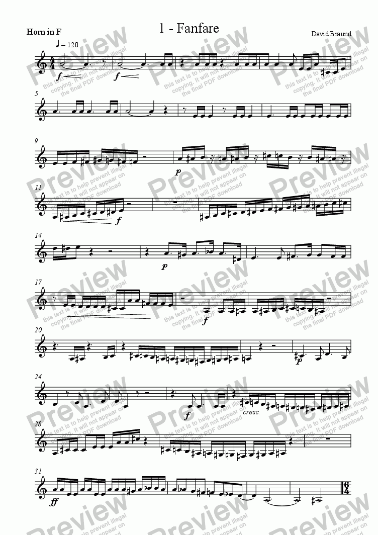 page one of the Horn part from Wind Quintet