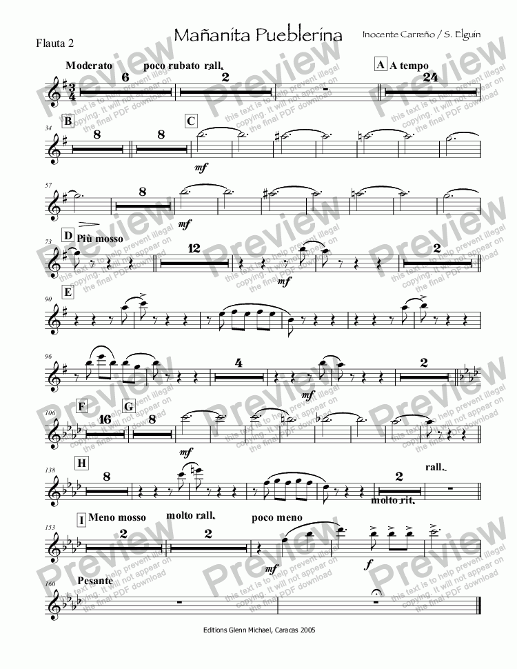 page one of the Flauta 2 part from Mañanita Pueblerina