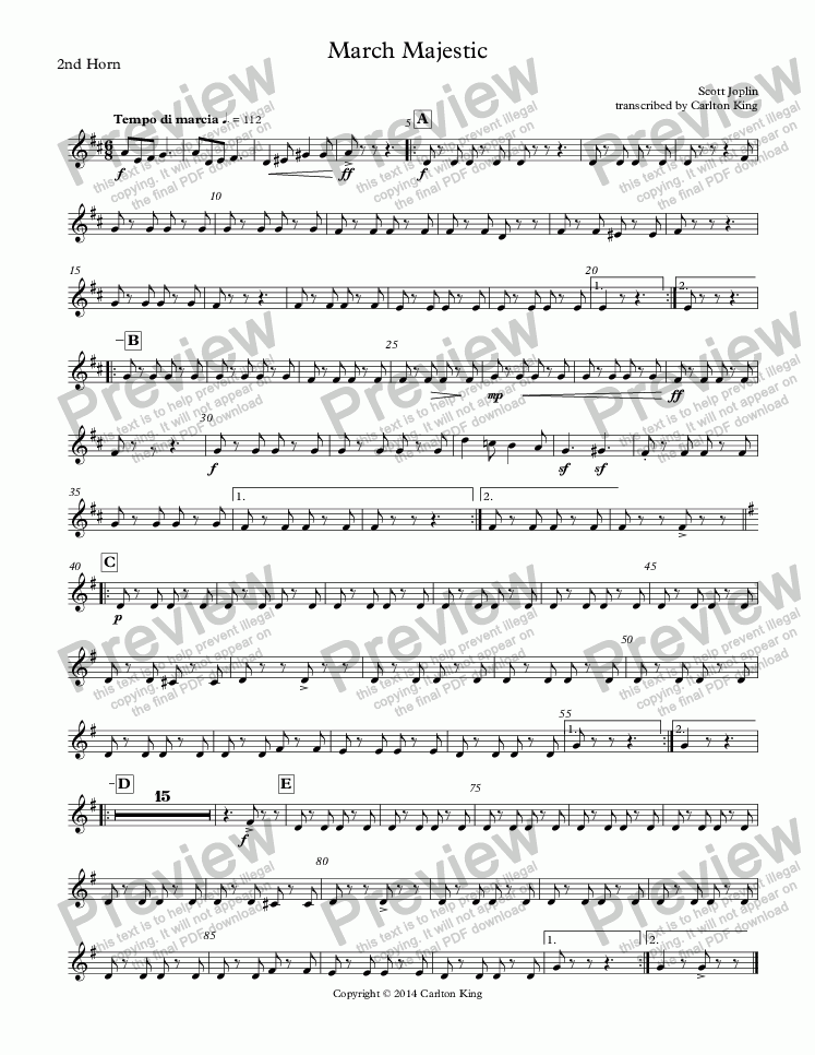 page one of the 2nd Horn part from March Majestic