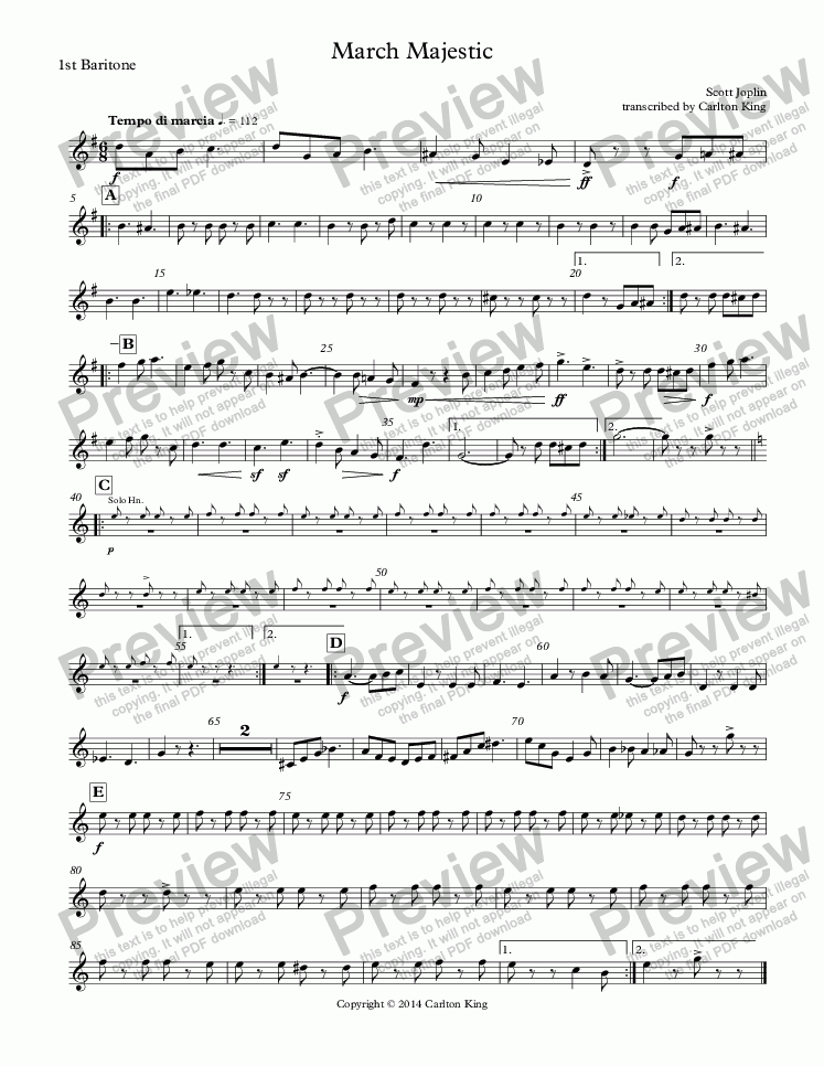 page one of the 1st Baritone part from March Majestic