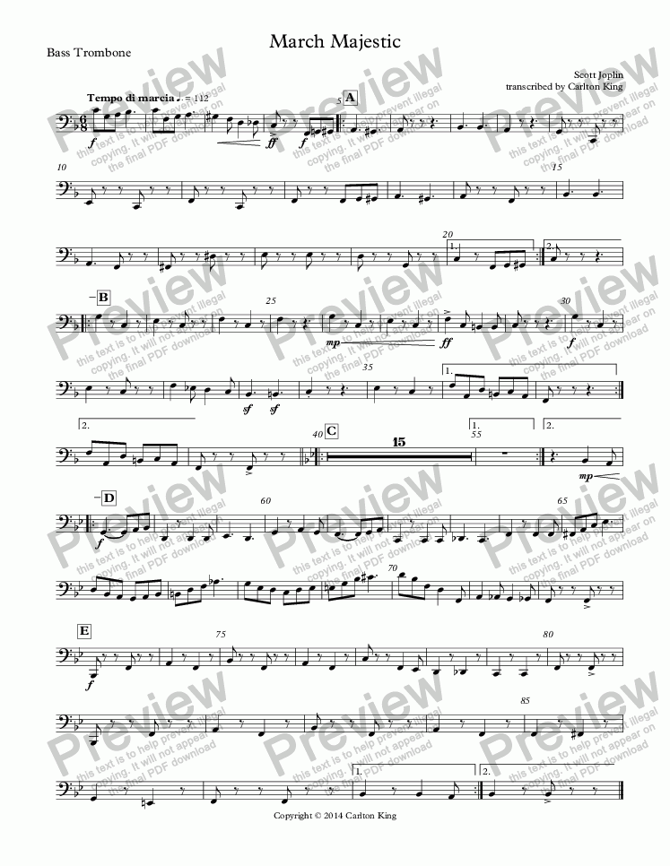 page one of the Bass Trombone part from March Majestic