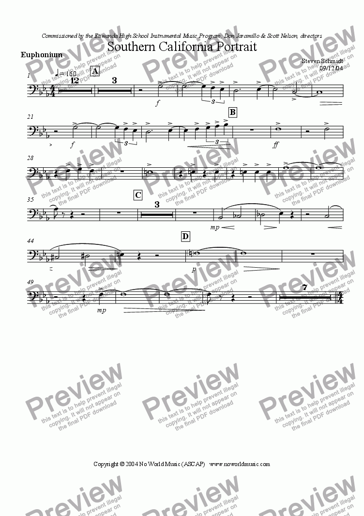 page one of the Euphonium part from Southern California Portrait
