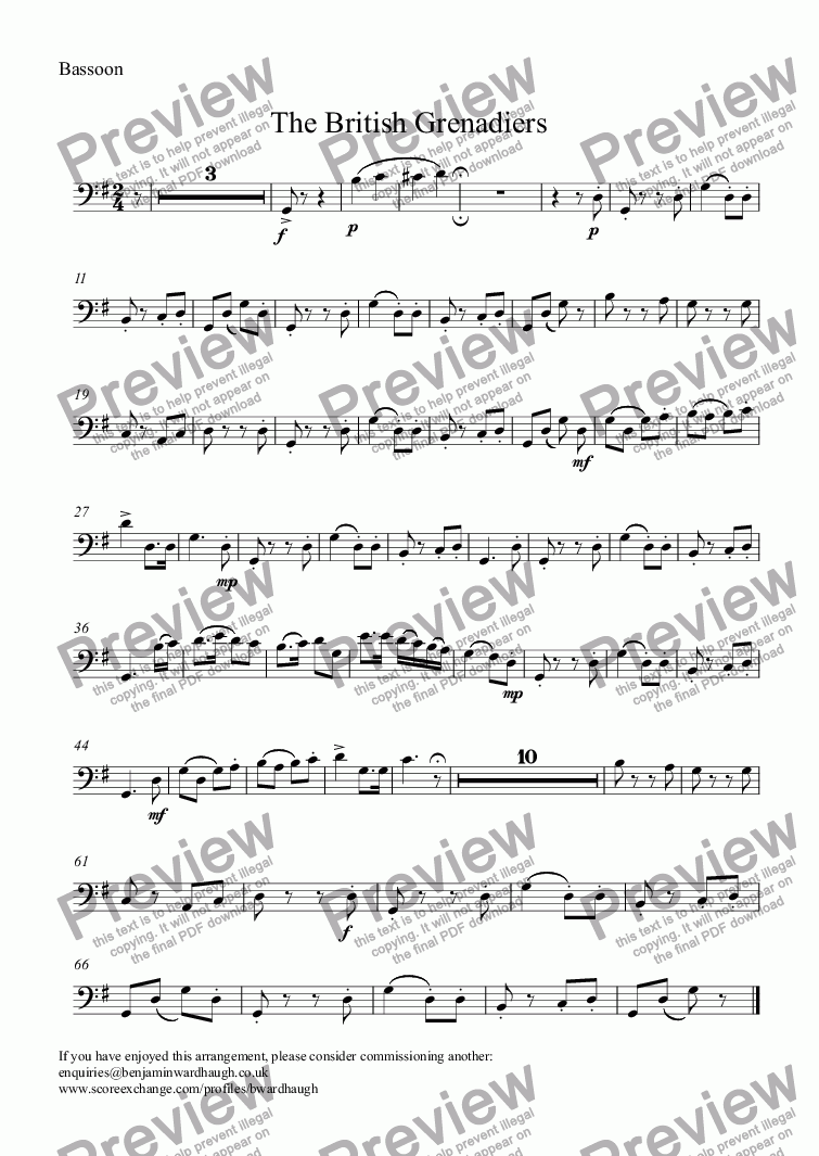 page one of the Bassoon part from The British Grenadiers