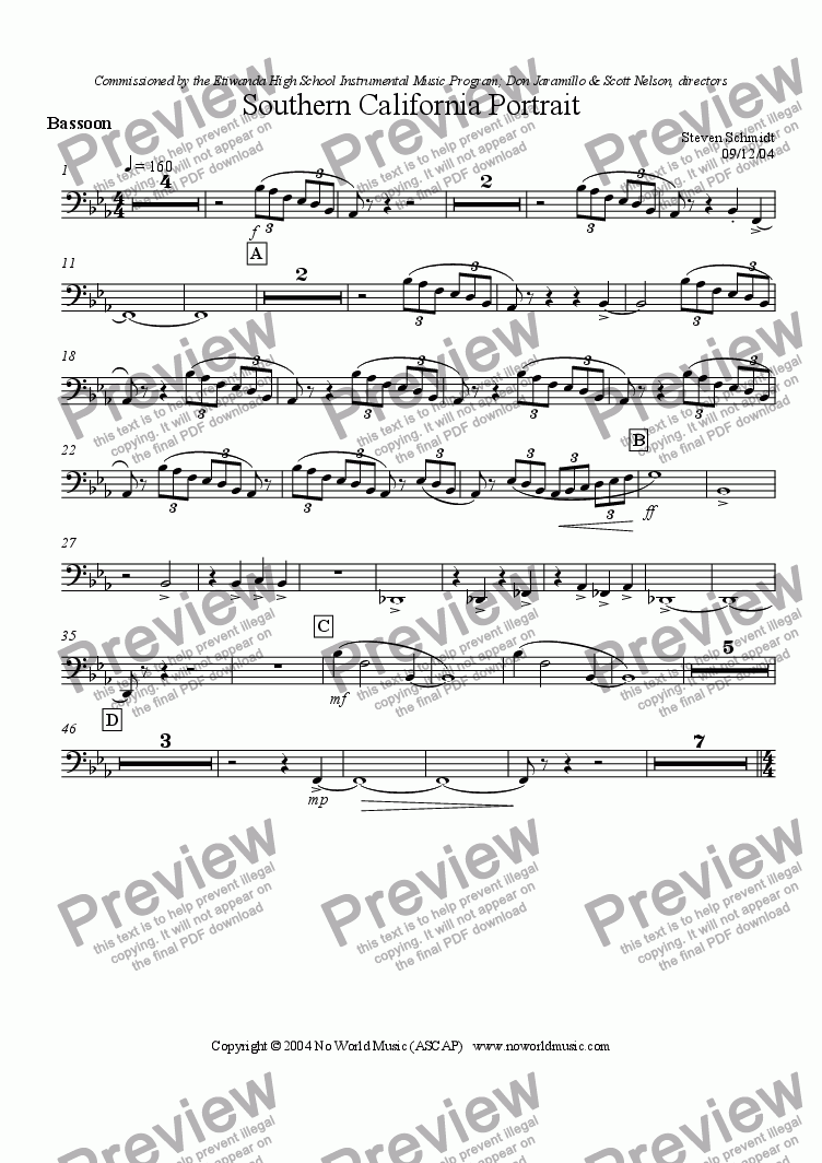 page one of the Bassoon part from Southern California Portrait