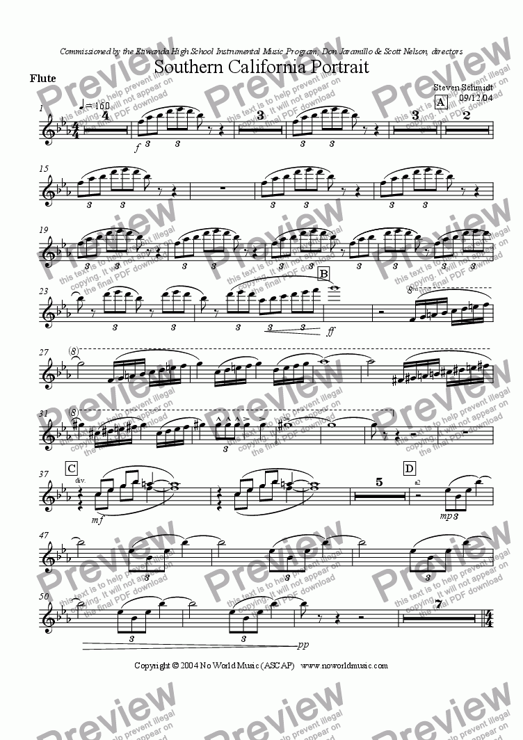 page one of the Flute part from Southern California Portrait