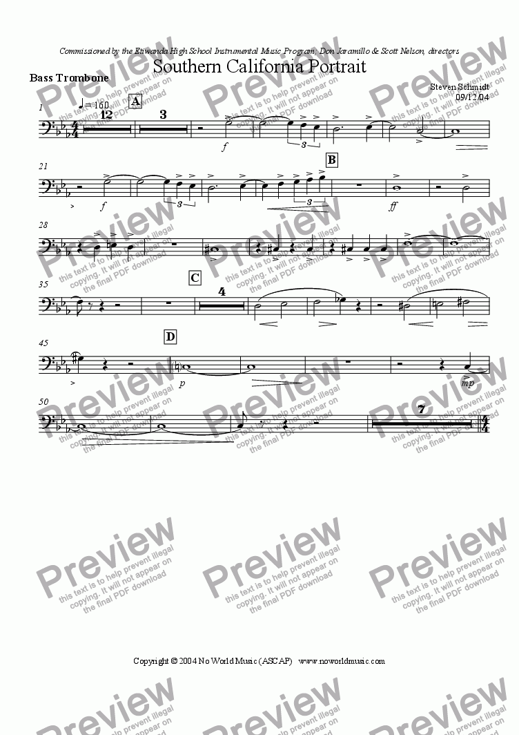 page one of the Bass Trombone part from Southern California Portrait