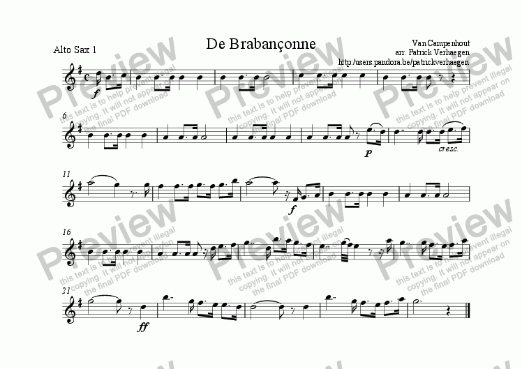 page one of the sax alto 1 part from Braban�onne (for fanfare band)
