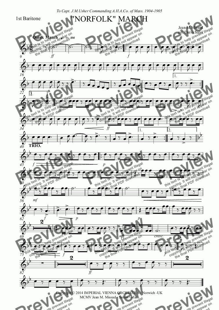 page one of the 1st Baritone part from Norfolk March