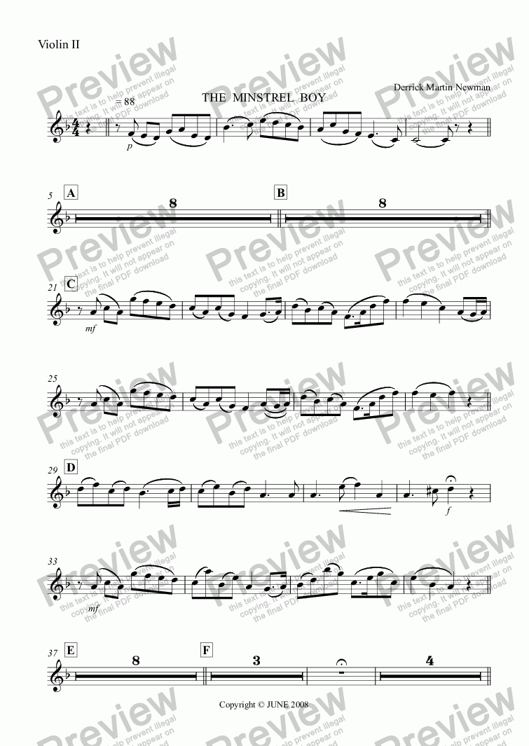 page one of the Violin II part from THE MINSTREL BOY - Flute + Strings op.5 no.3