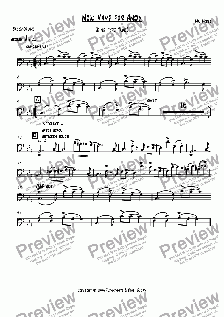 page one of the rhythm part from New Vamp for Andy