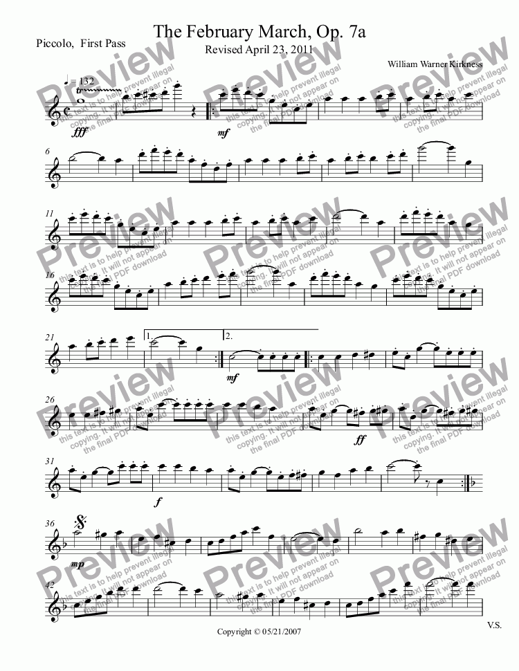 page one of the Piccolo,  First Pass part from The February March, Op. 7a