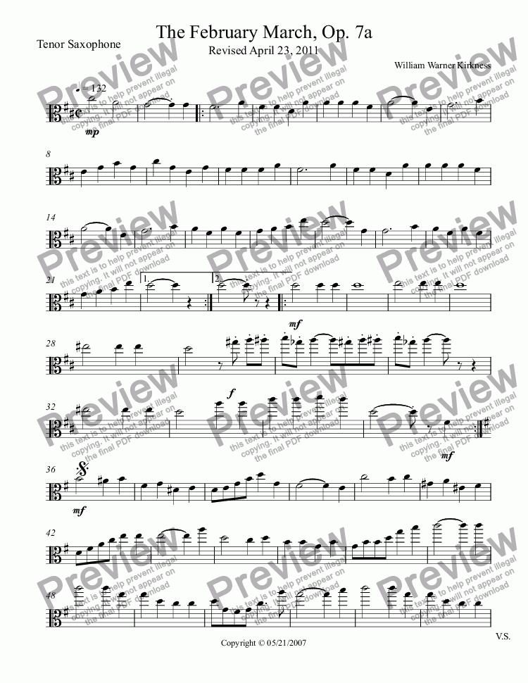 page one of the Tenor Saxophone part from The February March, Op. 7a