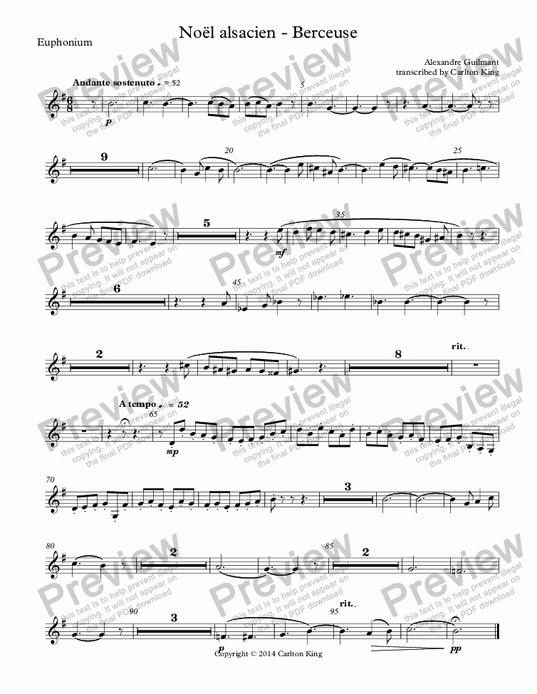 page one of the Euphonium part from Noël alsacien (10-piece)
