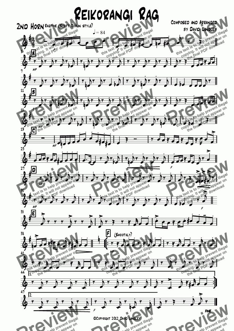page one of the 2nd Horn part from Reikorangi Rag