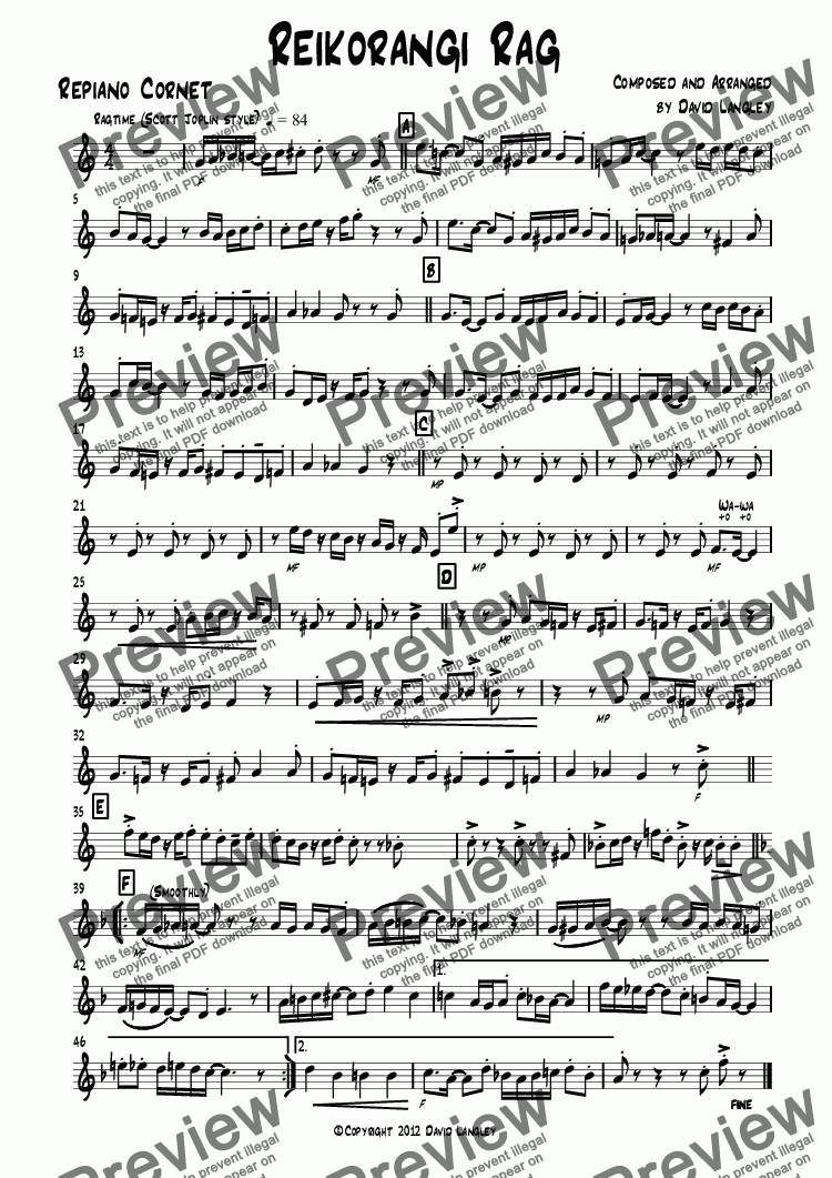 page one of the Repiano Cornet part from Reikorangi Rag