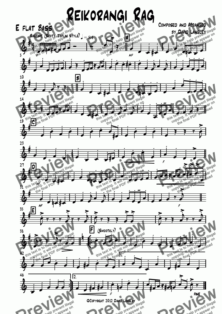 page one of the E flat Bass part from Reikorangi Rag
