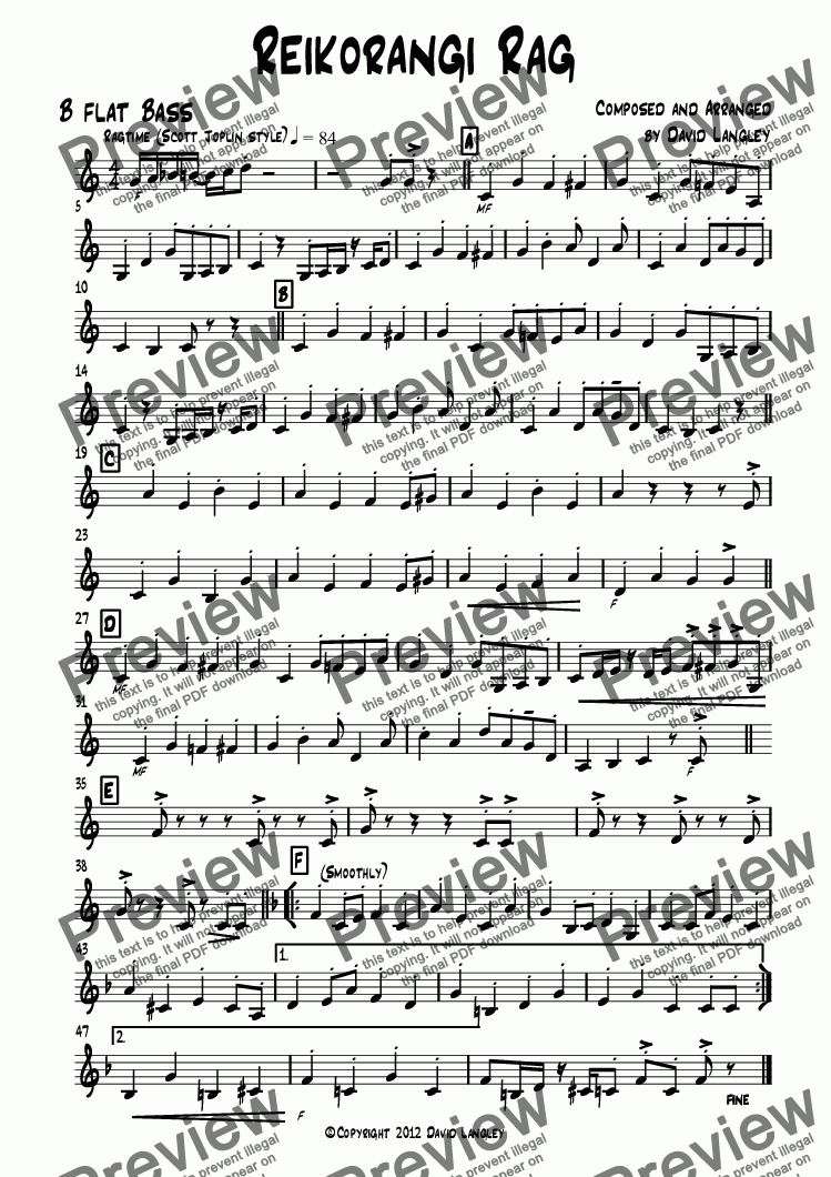 page one of the B flat Bass part from Reikorangi Rag