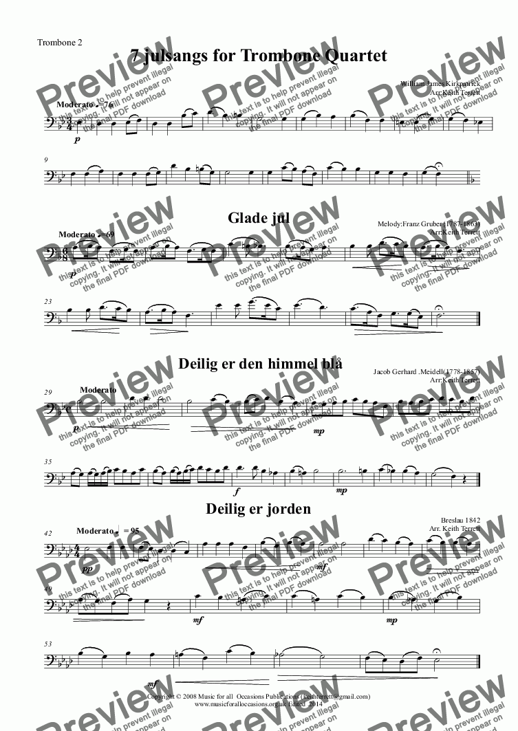 page one of the Trombone 2 part from 7 julsangs Trombone Quartet (Norwegian Christmas carols)