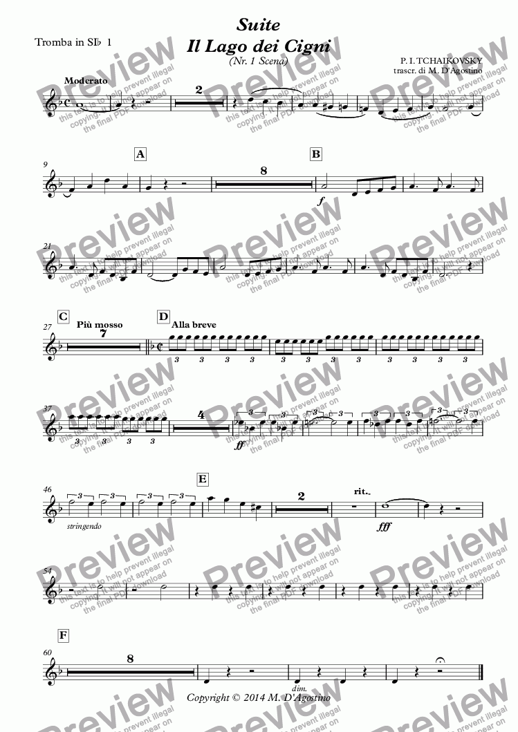 page one of the Tromba in SI^b^ 1^ part from Suite Il Lago dei Cigni