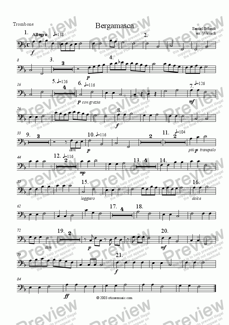 page one of the 5. Trombone F Scheidt Bergamasca part from Bergamasca for Brass Sextet