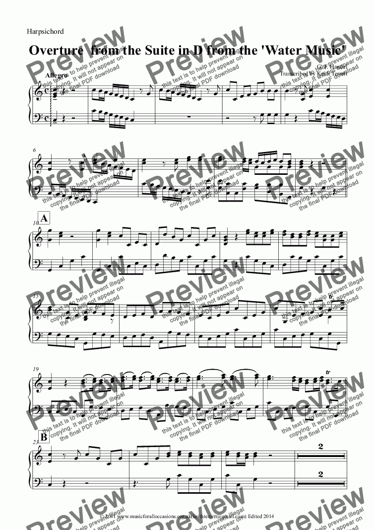 page one of the Harpsichord part from Overture from Suite in D from the Water Music for two Clarinets & Keyboard