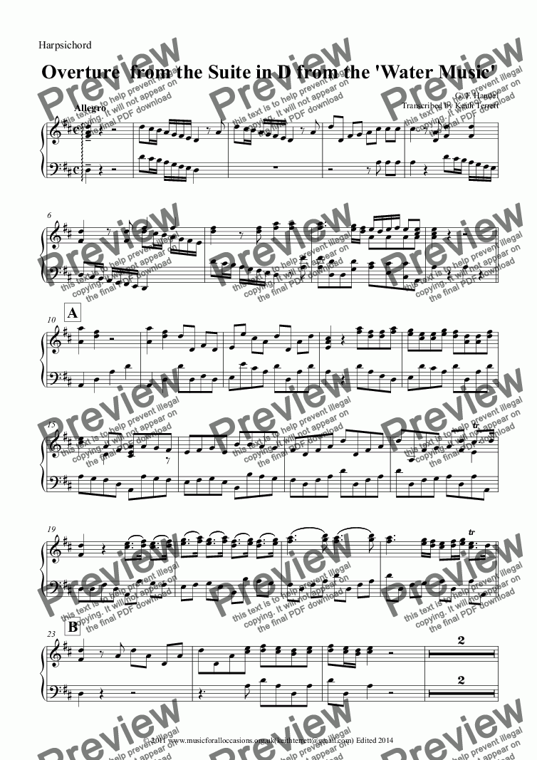 page one of the Harpsichord part from Overture from Suite in D from The Water Music for two Oboes & Harpsichord