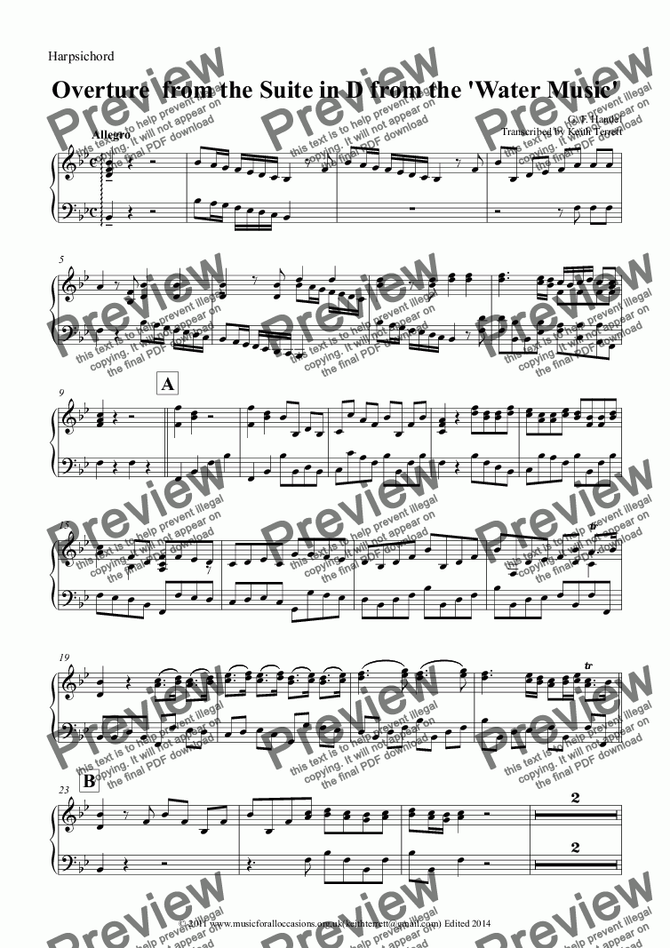 page one of the Harpsichord part from Overture from Suite in D from the Water Music,  for Two Bb Trumpets  & Harpsichord (Lower version)