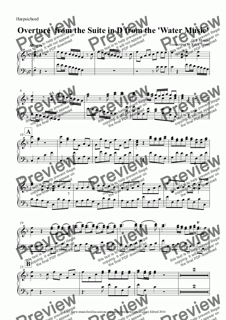 page one of the Harpsichord part from Overture from The Suite in D for two Eb Alto Saxophones & Keyboard