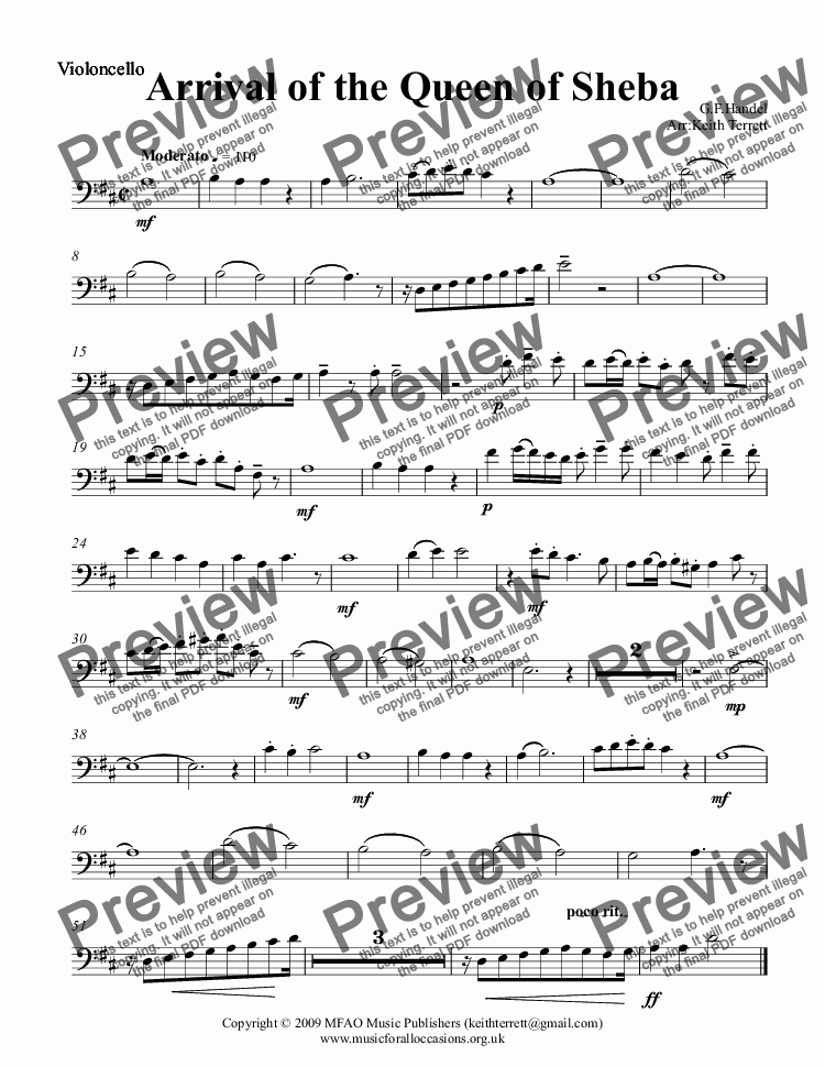 page one of the Violoncello part from Arrival of the Queen of Sheba for two solo Violins & String Orchestra