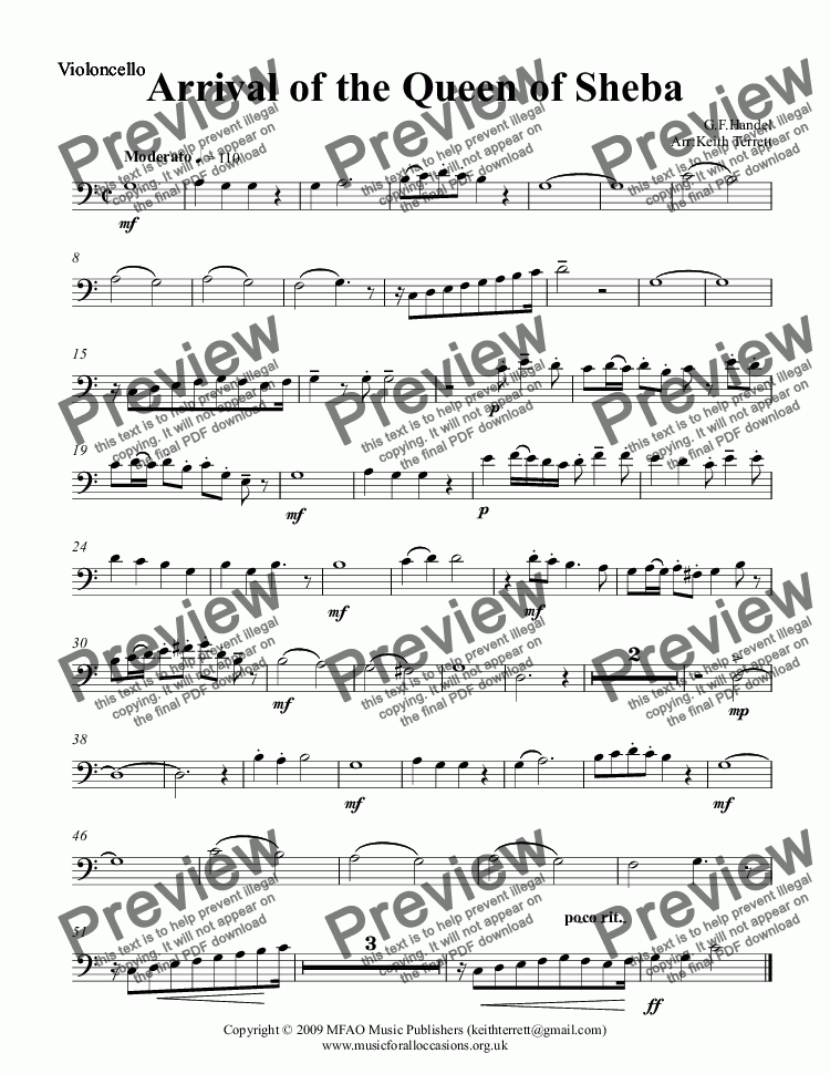 page one of the Violoncello part from Arrival of the Queen of Sheba for two Clarinets & String Orchestra