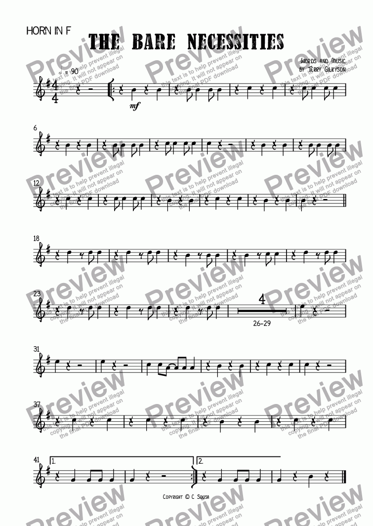 page one of the Horn in F part from The Bare Necessities