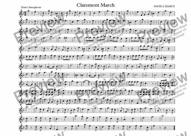 page one of the Tenor Saxophone part from Claremont March