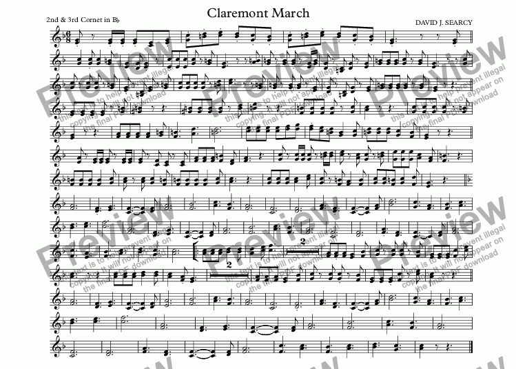 page one of the 2nd & 3rd Cornet in B^b part from Claremont March