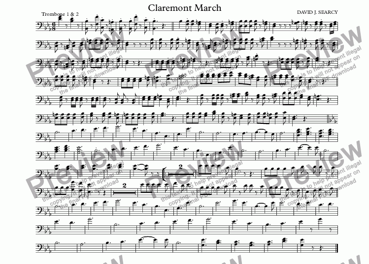 page one of the Trombone 1 & 2 part from Claremont March