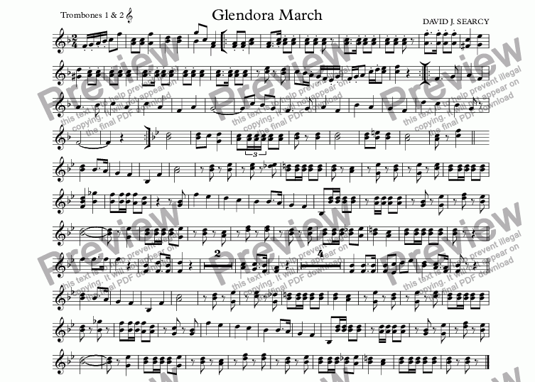 page one of the Trombones 1 & 2  part from Glendora March