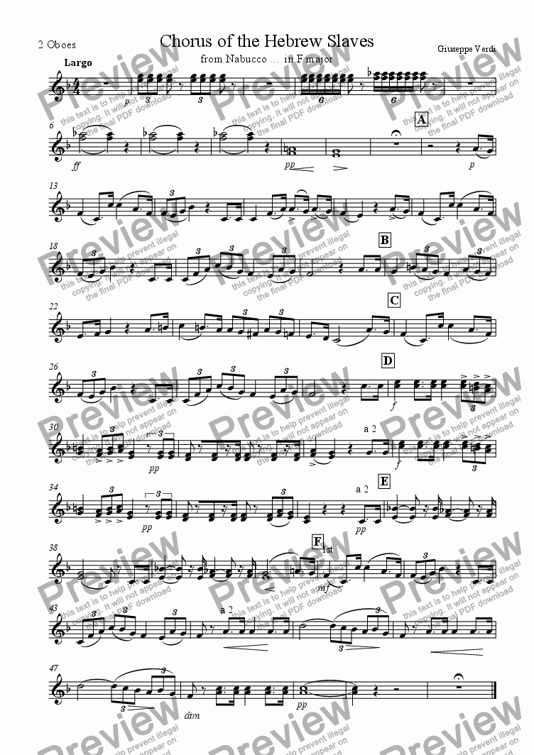 page one of the 2 Oboes part from Hebrew's Chorus from Nabucco