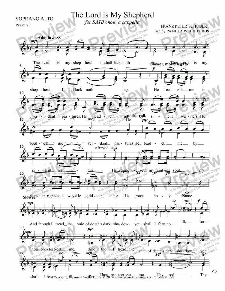 page one of the SOPRANO ALTO part from Psalm 23 (The Lord is My Shepherd) (SCHUBERT) for SATB mixed voices choir, a cappella, arr. by Pamela Webb Tubbs