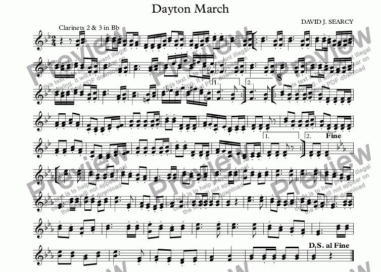 page one of the Clarinets 2 & 3 in Bb part from Dayton March